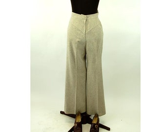 Vintage Givenchy pants wool tweed taupe high waist 1980s Size 8
