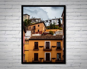 Albaycin Buildings, wall decoration, architecture photo, framed art, digital photo