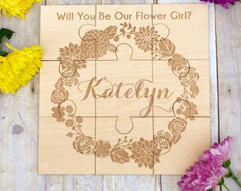 Wedding Bridal Party, Personalized Puzzle, Will You Be My Flower Girl, Flower Girl Ideas Wedding Gift Flower Girl Puzzle Asking Flower Girl