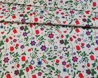 Linen - cotton fabric with flowers and strawberry