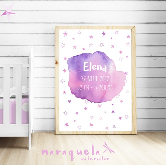 CUSTOMIZED PINK with stars watercolor newborn, personalized name, date, weight.