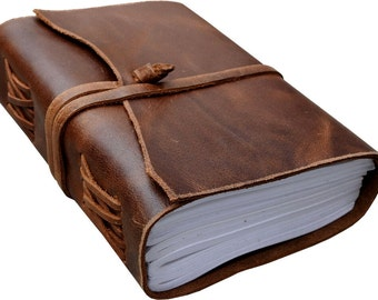 Antique Dark brown Crazy-Horse Leather Journal (Handmade) - Leather Cord Coptic Bound and leather tie closure Active