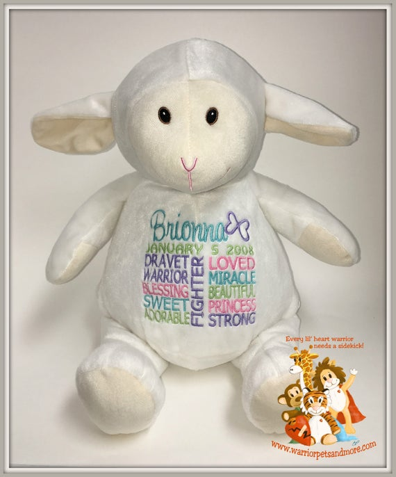 Lamb, Dravet,  personalized  Warrior Pet, stuffed animal