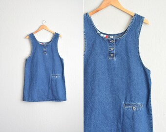 SALE // Size L // DENIM SHIFT Jumper // Dark Blue - Sleeveless - Jean Dress - Vintage '90s.
