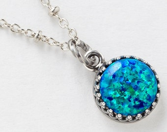 Silver Opal Necklace, Opal Pendant, Black Opal Necklace in Silver Filigree with Beaded Chain, October Birthstone Opal Jewelry Women's Gift