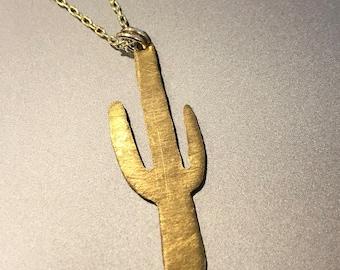 SALE Saguaro Cactus Necklace Pendant Arizona Delicate Chain Long Brass Copper Hand Sawn Cut Handmade Sonoran Desert Art Jewelry Cacti Silver