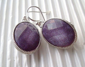 READY to SHIP Sparkling Purple Earrings, Bridesmaids Earrings, Glitter Earrings, Violet, Silver, February Birthstone, Holiday gift present