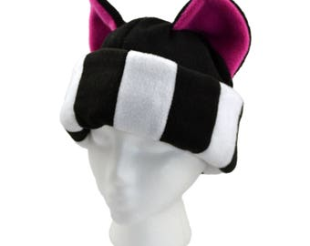 Black and White Striped kitty cat ears hat - Pink