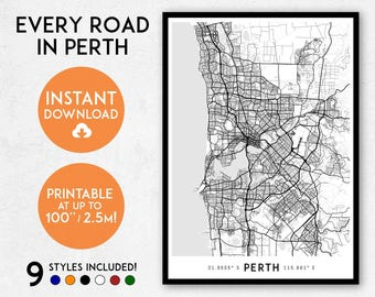 Perth map print, Printable Perth map art, Western Australia map print, Perth print, Perth art, Perth poster, Perth wall art, Perth gift