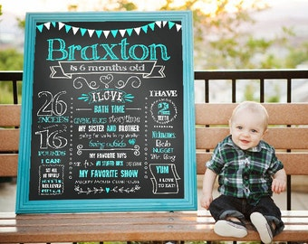 SALE Printable 6 Months Birthday Party Chalk Board Milestone Poster Banner Sign For A Boy Chalkboard