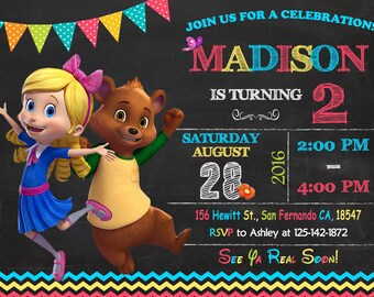 Goldie and Bear Invitation Printable, Goldie and Bear Birthday Party
