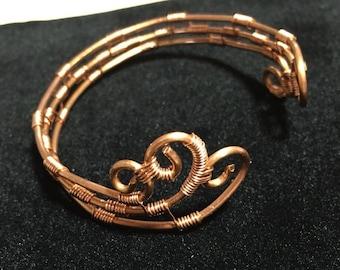 Wire wrapped copper bracelet, copper cuff bracelet, copper bracelet, handmade copper cuff bracelet, tribal style copper bracelet, bracelets
