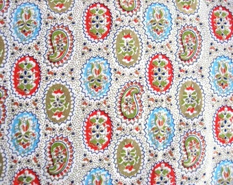 1950's Vintage Cotton Print Fabric, Remnant, Gold, Aqua, Red Paisley and Oval Figures