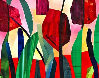 Tulip Collage - ooak - 17.3 x 13.4ins (45 x 34cms)A perfect bouquet of colour and beauty