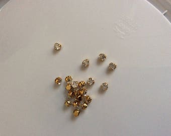 Set of 15 rhinestone Crystal Gold 5mm sertisse sewing