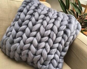 Chunky 100% merino wool square knitted cushion 50x50 cm