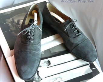 Vintage PIERRE CARDIN Suede Oxford Mens Shoes / size 9 D  Eu 43  UK 8 .5 / Grey Leather Lace Up 1990s / Made in Spain Designer