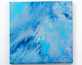 Original abstract painting - Pacific Ocean . Acrylic on canvas 20 x 20 cm
