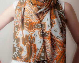 Stammes-Boho Schal abstrakte gedruckte Schal Taupe-Orange-Wrap klassische Tube Schal überdimensioniert Bow Scarf Schal Womens Frühjahr Mode-Accessoires