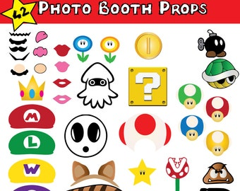 Super Mario Brothers Photo Booth Props 42  Instant Download Printable Set