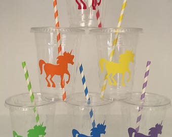 Rainbow unicorn party cups, unicorn party cups, unicorn rainbow party