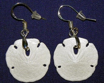 "Genuine dangle Sand Dollar Earrings 1""/27mm.  Stainless Fishhook Style ear wire~ Sealed/Coated/Painted ~  Sold per Pair. ~FREE SHIPPING~"