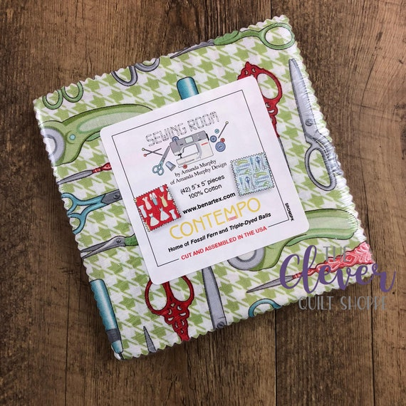 Charm Pack Squares, Sewing Room, Contempo, Benartex, Scissors, Sewing, Craft Room, Dresses, Floral, Red, Green, Blue, Notions,