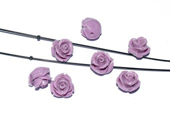 Natural Pearl wire - cinnabar (12mm) - lilac, pink patent - PCINA1215LIL971