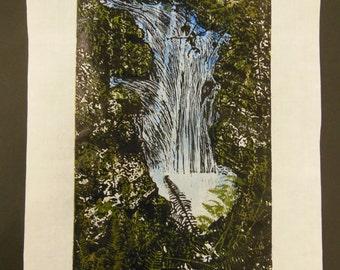 Forest stream waterfall hand carved original woodblock print Japanese moku hanga signed  Clark