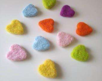 Hearts 100% Wool Handmade Needle Felt x 6