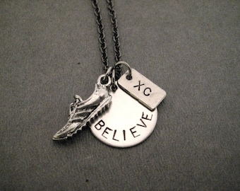 BELIEVE In Your Run XC Running Shoe Necklace - Cross Country Runner Necklace on Gunmetal chain - Xc Believe Necklace - Xc Runner Necklace