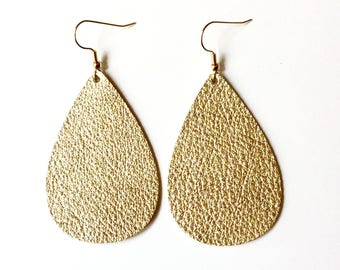 Gold Metallic Tear Drop Leather Earrings / Leather earrings / Gold earrings / Statement Earrings / Tear Drop Earrings