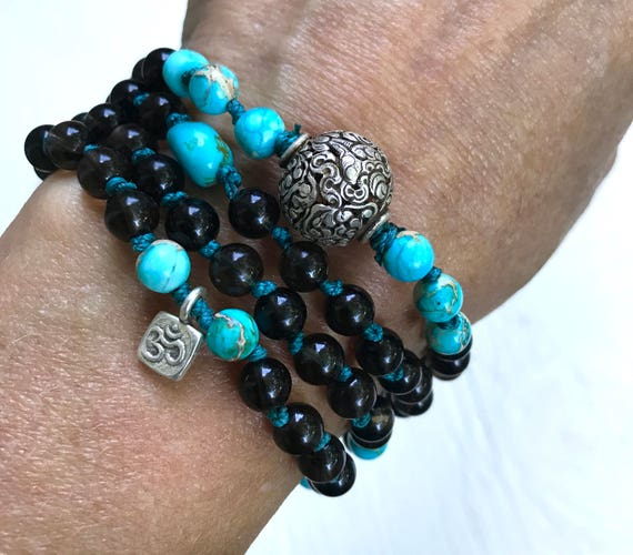 Protection Mala Beads - Smoky Topaz & Turquoise Mala - Conch Shell Symbol - Root Chakra Mala - 8 Auspicious Path - Buddhist Prayer Beads