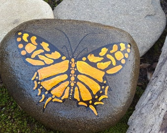 Swallowtail on Stone-YelOrg/Butterfly Painting/Wildlife Art/Painted Rock/Home Decor/OfficeDecor/Yard Art/Garden Decor/UniqueGift/GiftforHer