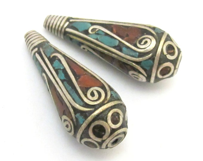 2 Beads-Tibetan filigree design silver spiral with turquoise coral inlaid brass cone beads - BD630