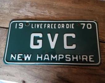 Vintage 1970 NH License Plate