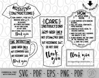 Care Card Bundle, Care Instruction Cards, Decal and HTV Application instructions, Care Card SVG, Instruction SVG