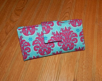 Trifold Wallet - Womens Wallet - Fabric Wallet - Checkbook Cover - Card Slots - Cash Wallet- Gift - Gift for Her - Ready to Ship