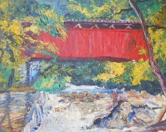 Vintage red covered bridge people fishing oil painting signed
