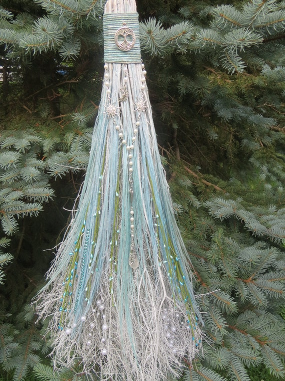 Handfasting Broom in Turquoise and White Wiccan Wedding Jump