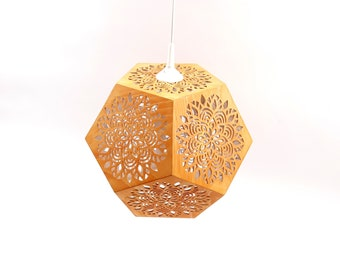 Wooden Dodecahedron Pendant Light with Mandala Powerful Sacred Geometry Symbol