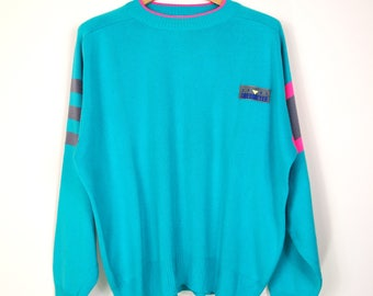 80's Obermeyer Ski Sweater Turquoise Pink and Grey Sz. XL