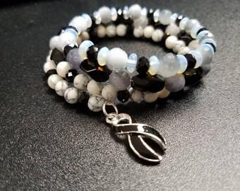 Black Awareness Ribbon Wraparound Bracelet
