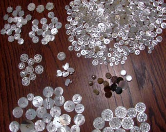 Buttons 450 Mother of Pearl Carved Ducks Flowers Leaves Plus Antique Vintage Lot