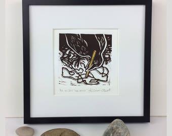 The Artist-Crow drawing with a pencil-Crow Art- Wall Art -Raven-Blackbird-Linoleum print-Linocut-Blockprint-Woodblock