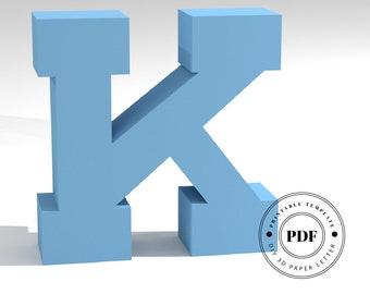 Printable DIY template (PDF).  Letter K low poly paper model template. 3D paper lettering. Origami. Papercraft. Cardboard alphabet.