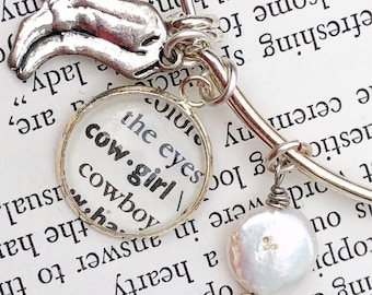 Cowgirl Bracelet, Country Girl Jewelry, Western Charm Bracelet, Dictionary Word Expandable Bangle, Cowgirl Charm Bracelet Gift for Wife, Her