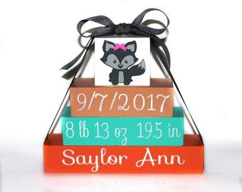 personalized baby name blocks, birth announcement art, fox baby shower gift, fox nursery decor, custom baby gift, teal peach nursery