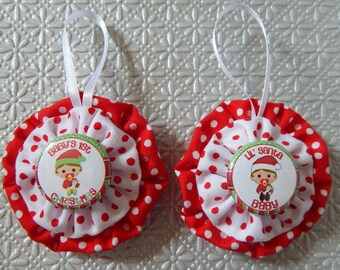 Baby's First Christmas Yo Yo Ornaments Set of 2 - Red and White Dots