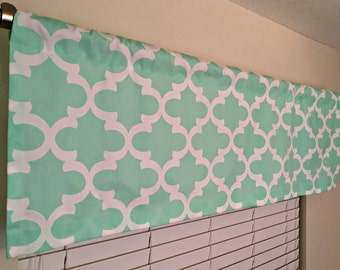 Mint Green Curtain Valance, Decorative Window Curtains, Premier Prints Fynn Trellis